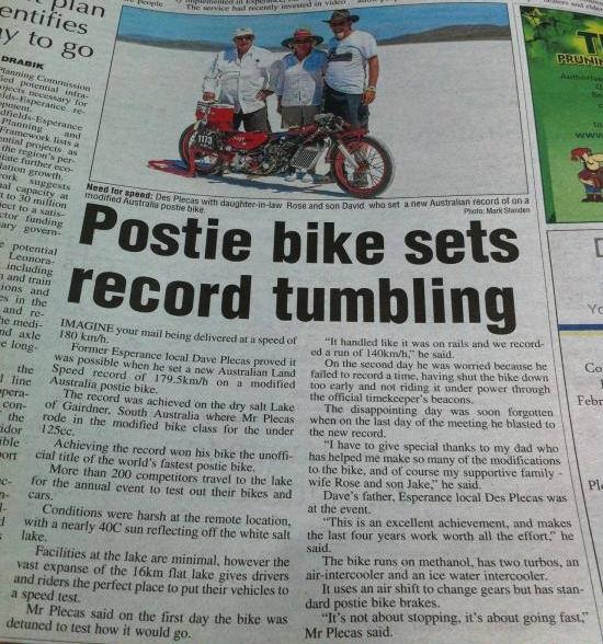 Postie Bike Sets Recird Tumbling